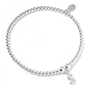 Initial S Charm with Sterling Silver Ball Bead Bracelet