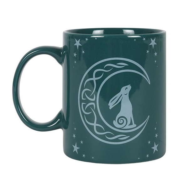 Moon Gazing Hare Green Ceramic Mug