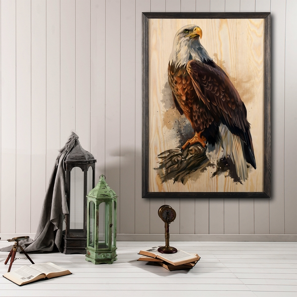 Eagle Multicolor Decorative Framed Wooden Painting