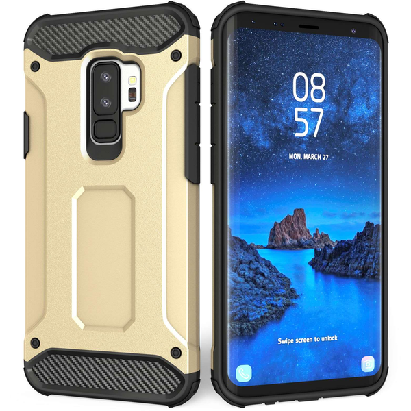 Samsung Galaxy S9 Plus Armoured Shockproof Carbon Case - Gold