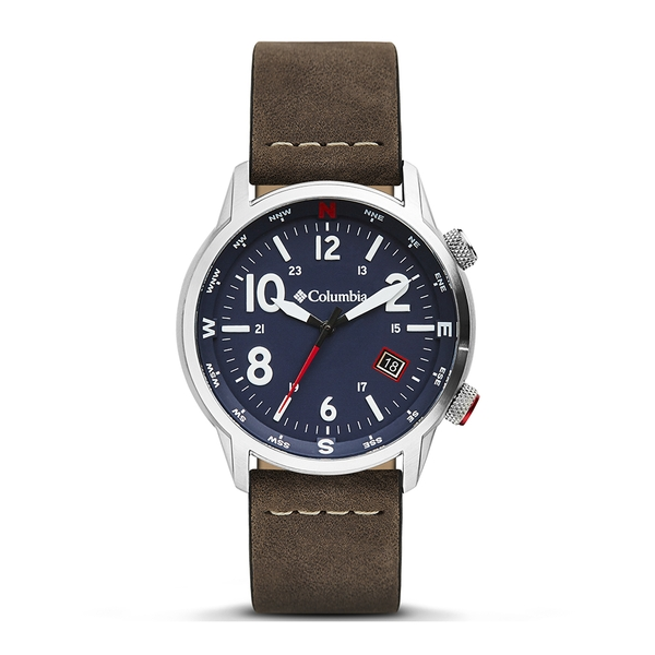 Columbia CSC01-001 Outbacker Navy 3-Hand Date Saddle Leather Watch