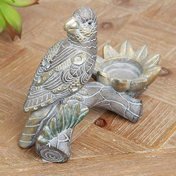 Carved Wood & Bronze Effect Exotic Parrot Tealight Holder