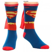 Superman Costume One Size Sock With Cape - Red & Blue