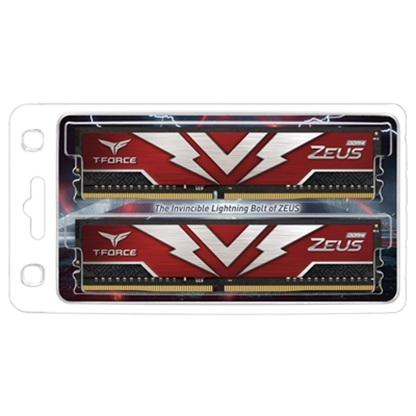 Image of Team T-Force Zeus 16GB Red Heatsink (2 x 8GB) DDR4 3200MHz DIMM System Memory