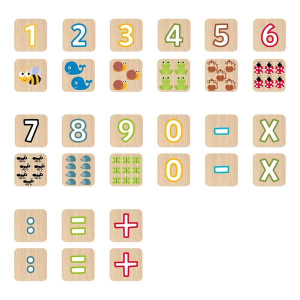 Seek'O Blocks Numbers and Animals Wooden Cubes (52 Pieces)