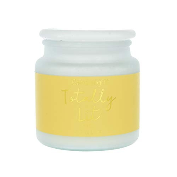 Large Frosted Glass Wax Filled Jar 'Totally Lit' - Mimosa
