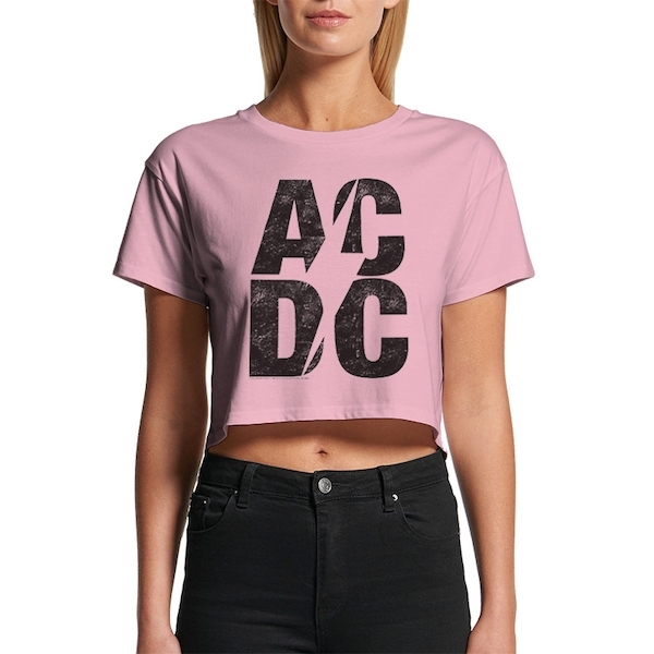 Ac/Dc - Stacked Logo Women's Small Crop Top - Pink