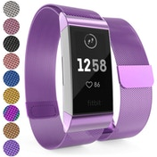 YouSave Milanese Metal Strap - Plum compatible with Fitbit Charge 3