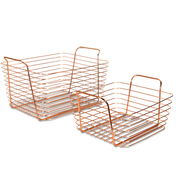 Rose Gold Metal Storage Basket | M&W Set of 2 New