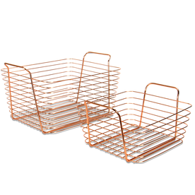 Rose Gold Metal Storage Basket | M&W Set of 2
