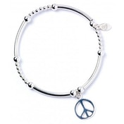 Peace Sign with Noodle Bead Bracelet & Charm Sterling Silver Ball