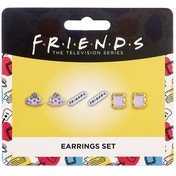 Official Friends Set of 3 Earring Studs | Frame, Coffee Cup & Friends Logo