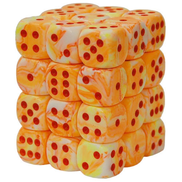 Chessex 12mm Dice Block: Festive Sunburst/Red (36)