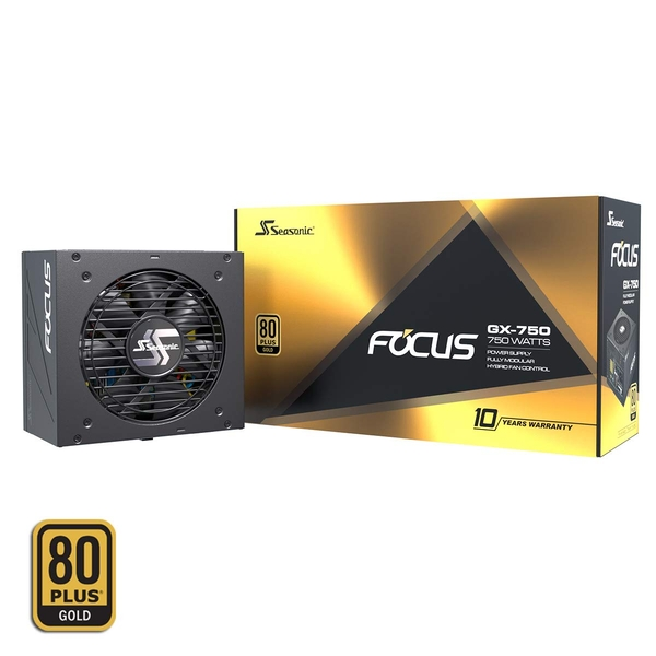 Seasonic Focus GX-750 750W 80+ Gold Modular Power Supply UK Plug