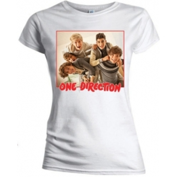 One Direction Band Red Border Skinny White TS: Medium