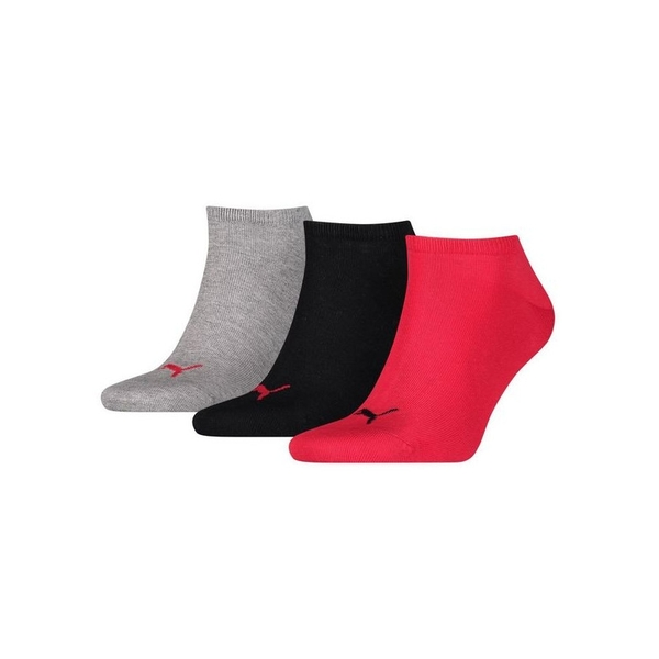 Puma Sneaker Invisible Socks (3 Pairs)  Black/Red/Grey - UK Size 9-11