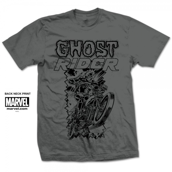 Marvel Comics Ghost Rider Simple Mens Grey T Shirt XX Large
