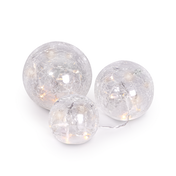 Fairy Light Crackle Glass Orbs - Set of 3 | M&W