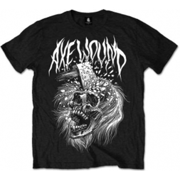 Axe Wound Skull Mens Black T Shirt: Large