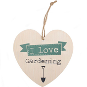 Love Gardening Hanging Heart Sign