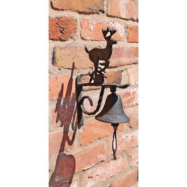 Rustic Cast Iron Wall Bell, Running Reindeer