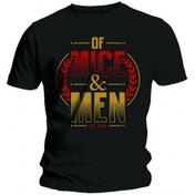Of Mice & Men Wreath Red & Gold Mens Blk T Shirt: Large
