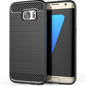 Samsung Galaxy S7 Edge Carbon Fibre TPU Case Silicone Cover - Black