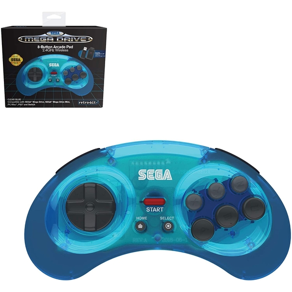 Retro-Bit Official SEGA Mega Drive Blue Wireless Controller 8-Button Arcade Pad for Sega Mega Drive