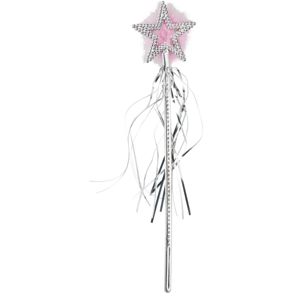 Star Wand Silver Marabou And Tinsel