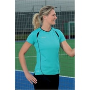 PT Ladies S/Sleeve Running Shirt Turquoise/Black 12 (36inch)