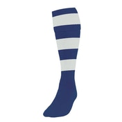 Precision Hooped Football Socks Large Boys Navy/White