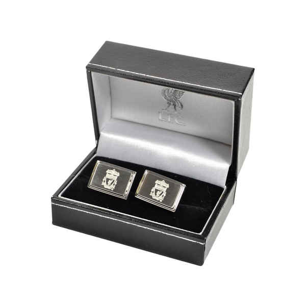 Liverpool Stainless Steel Engraved Oblong Crest Boxed Cufflinks Liverbird Box