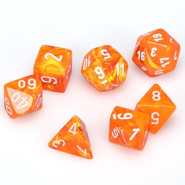 Chessex Poly 7 Dice Set: Vortex Solar with white