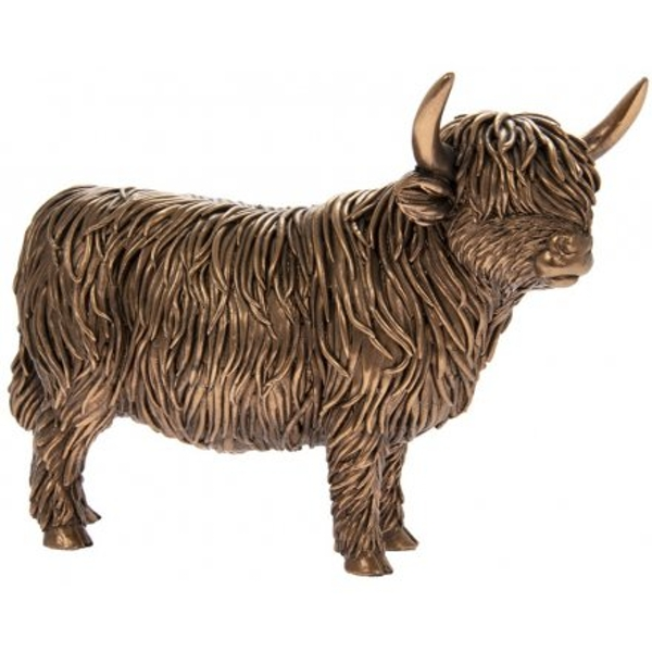 Small Bronzed Reflections Highland Cow Ornament