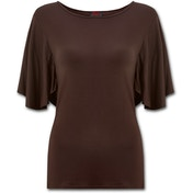 Gothic Elegance Boat Neck Bat Sleeve Women's Small Short Sleeve Top - Chocolate Brown