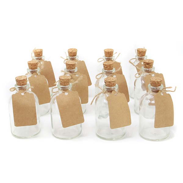 Set of 12 Mini 50ml Glass Bottles | Includes Decorative labels | M&W - Image 1