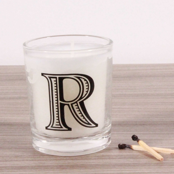 R Alphabet Candle in Votive Glass
