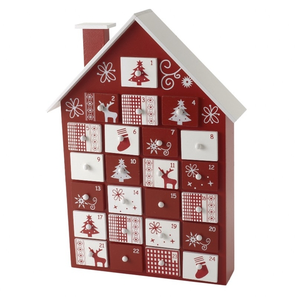 Hand Painted Wooden Christmas House Advent Calender with Drawers by Heaven Sends