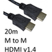 HDMI 1.4 (M) to HDMI 1.4 (M) 20m Black OEM Display Cable - Image 2