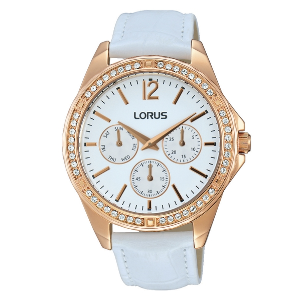 Lorus RP640CX9 Ladies Rose Gold Multidial Leather Strap Watch