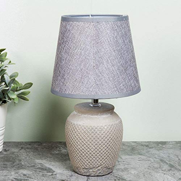 HESTIA? Ceramic Lamp with Grey Shade 15cm