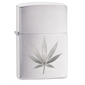 Zippo Marijuana Leaf Design Brushed Chrome Finish Windproof Lighter