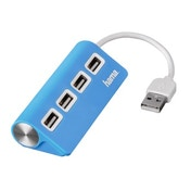 Hama USB 2.0 Hub 1:4, bus powered, blue