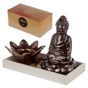 Buddha & Lotus Candle & Incense Cone Burner Eden Aroma Set