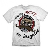 BORDERLANDS Men's Dr. Ned Totally Not in Disguise T-Shirt, Small, White