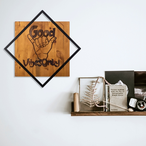 Good Vibes Only Walnut Black Decorative Wooden Wall Accessory
