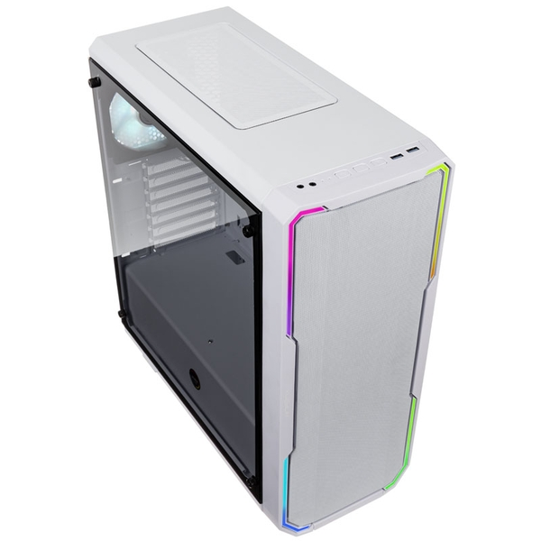 Bitfenix Enso Mesh Midi Tower RGB Gaming Case - White Tempered Glass