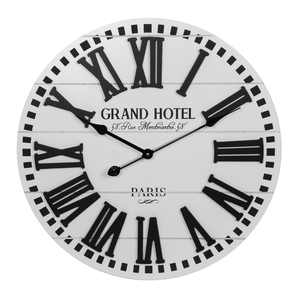 White Wood Plank Wall Clock with Roman Dial (60cm)