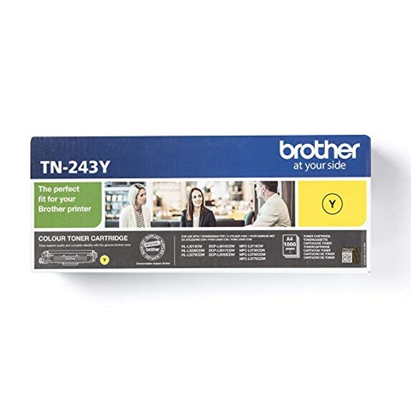 Brother TN-243Y Toner Cartridge, Yellow, Single Pack, Standard Yield, Includes 1 x Toner Cartridge, Brother Genuine Supplies
