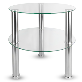 Small Round Glass 2 Tier Table | M&W Clear